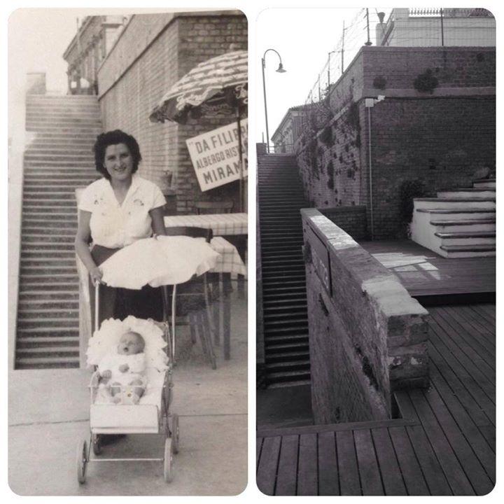 La Signora Maria, negli anni 50, nella locanda del marito Filippo. La scalinata ieri e oggi.